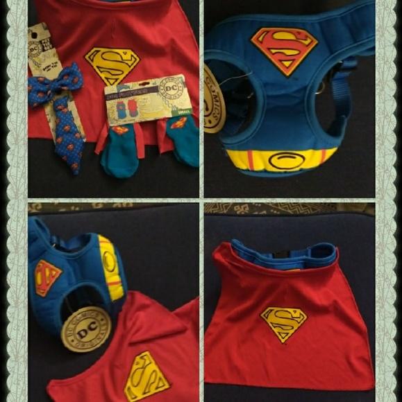 2e858c4abdd8 DC Comics Costumes | Superman Dog Harness Wcape Socks Tie Bow Tie ...